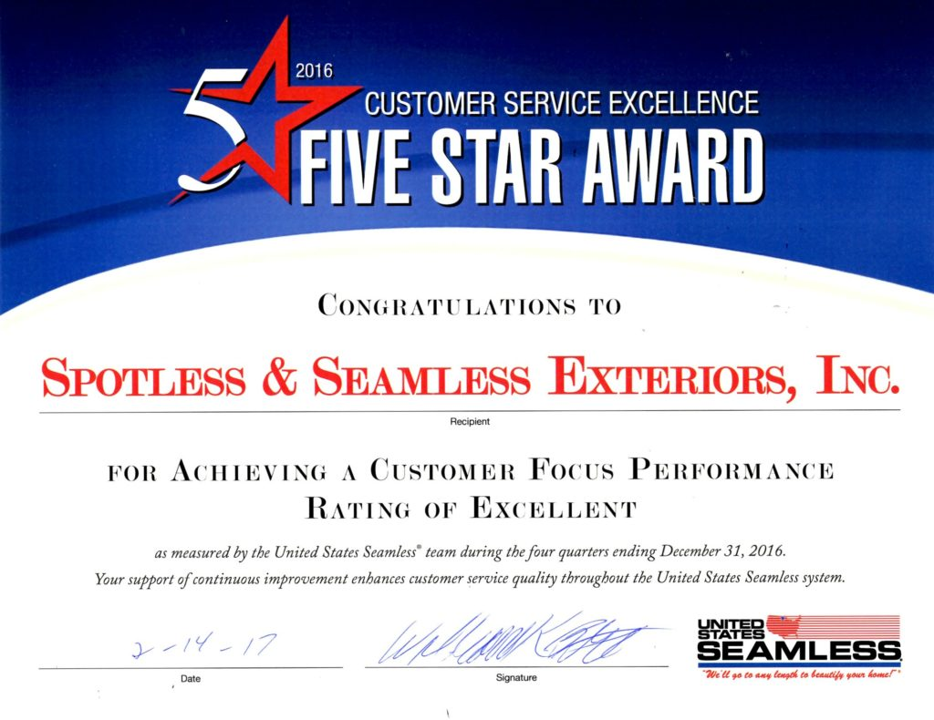 2016 US Seamless Awards - Customer Service Excellence 5 Star Award presented to Spotless & Seamless Exteriors